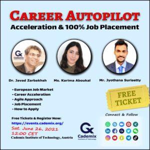 Cademix Career Autopilot Seminar Meeting Webinar Karima Aboukal Jyothsna Javad Zarbakhsh Pathway study work Abroad
