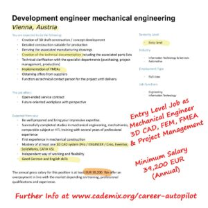 Cademix Target Job CAD FEM Mechanical Engineer Vienna Austria Job Opening Opportunity