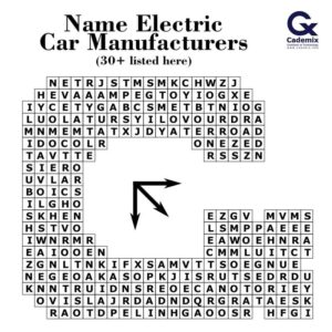 Electrocars Electric car brands manufacturers Cademix puzzle word