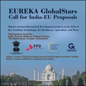 Eureka India EU GlobalStars Cademix Partnership Healthcare Agriculture Water Call for Proposals India Austria Sweden Netherlands France Finland Belgium Switzerland Ausschreibung