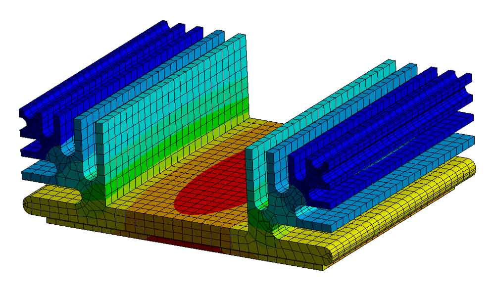 Heat Sink thermal simualtion finite element results with mesh visible