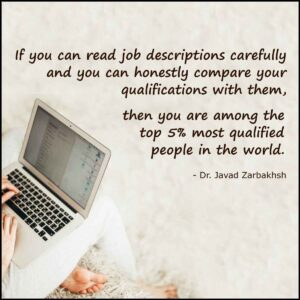 Honest compare of your qualifications with job descriptions Quote Javad Zarbakhsh