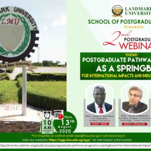 Landmark University Zarbakhsh Javad 2nd Postgraduate Webinar Pathway Program Springboard Springboard
