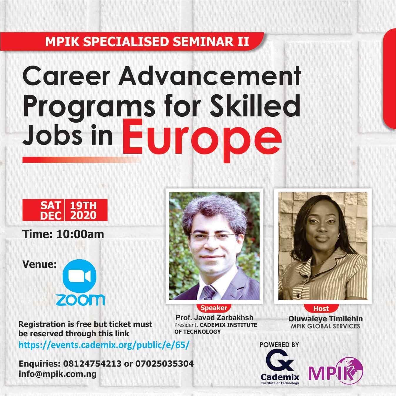 MPIK Cademix Seminar Nigeria Javad Zarbakhsh Zoom Oluwaleye Timilehin Africa Nigeria Ibadan Career Advancement Programs skilled Jobs Europe