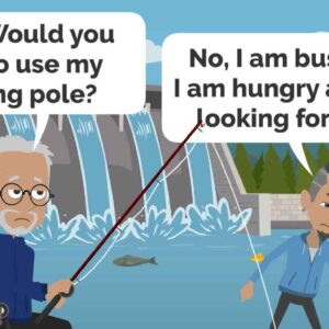 Metaphor Animation Old Man offer help career development careeradvice job seeker Fishing Pole Young guy busy Fish search