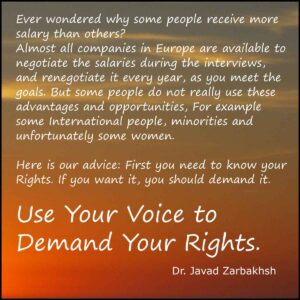 Use your voice demand your rights Quote Javad Zarbakhsh inspirational salary motivational