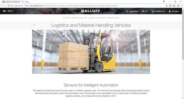 Balluf company Website Sensor for intelligent automation Logistics Material handling