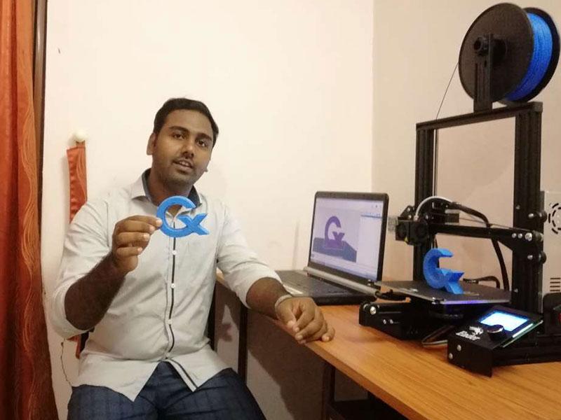 Joji Jermias 3D printing cademix internship at home india